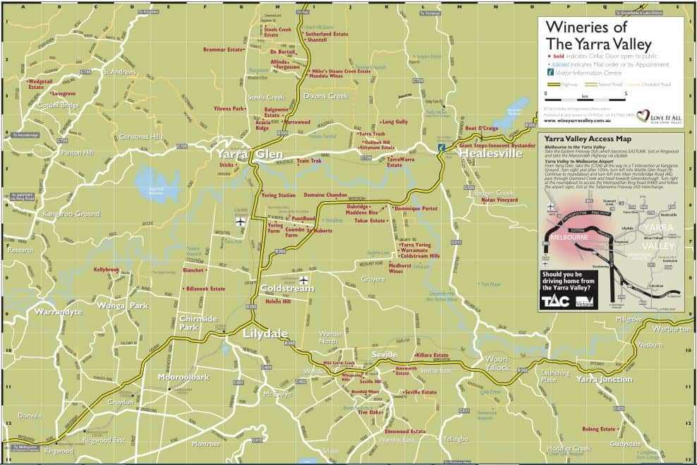 Yarra Valley Wineries Map  Winery Restaurants Maps